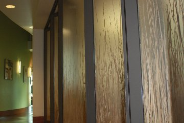 Privacy decorative acrylic glass. Gray Aluminum sliding door room divider. ADA Compliant.