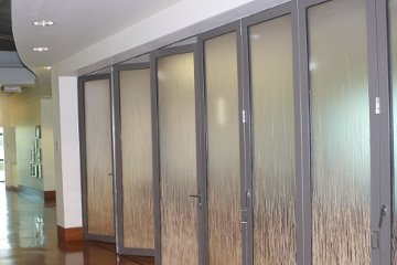 Office to hall way glass sliding door divider. Privacy bamboo sugar glass wall. ADA Compliant.